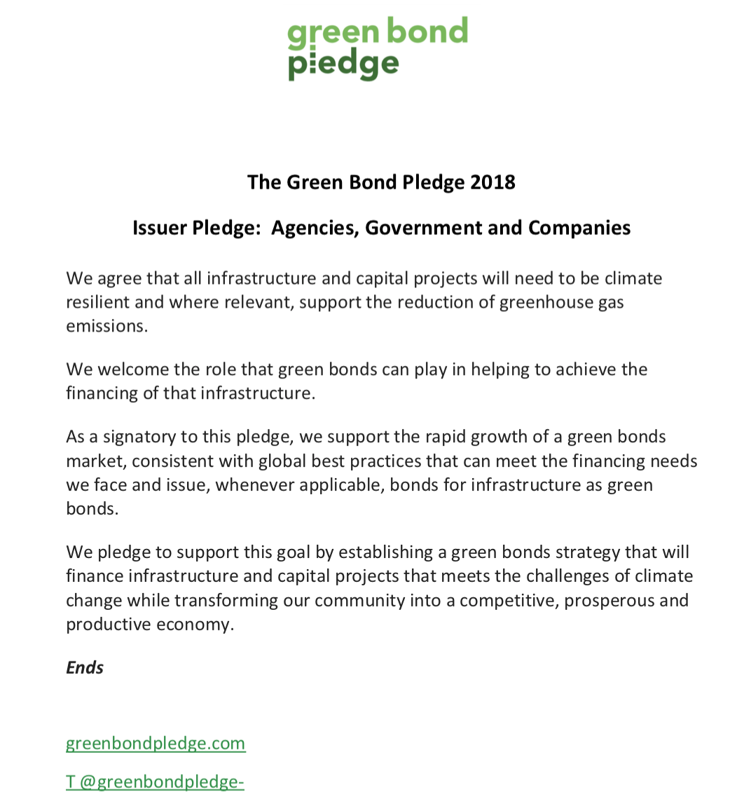 Green Bond Pledge Foundation Signatories Announced on Eve of