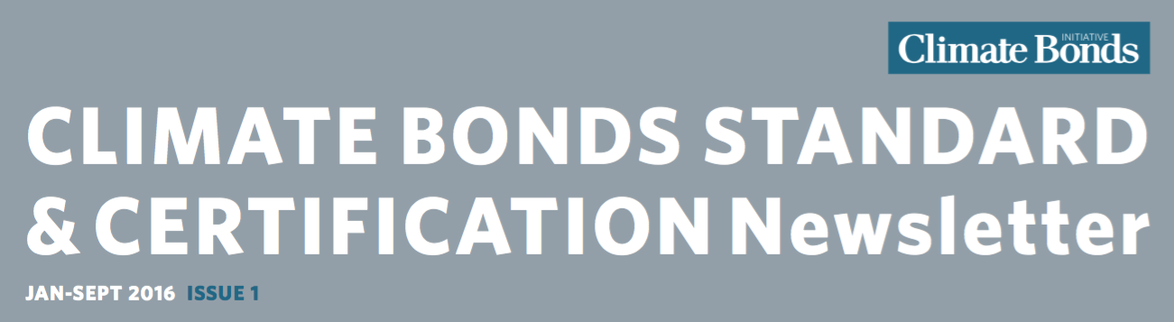 New from Climate Bonds: Standard & Certification newsletter